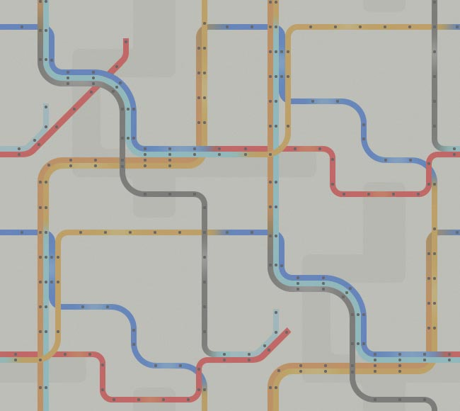 blue, red, orange, yellow, and grey lines with dots on them.  perhaps a bus route map.