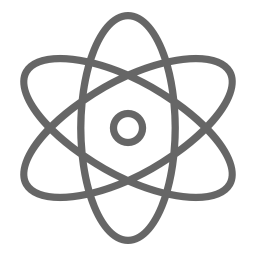 Dark gray atom icon